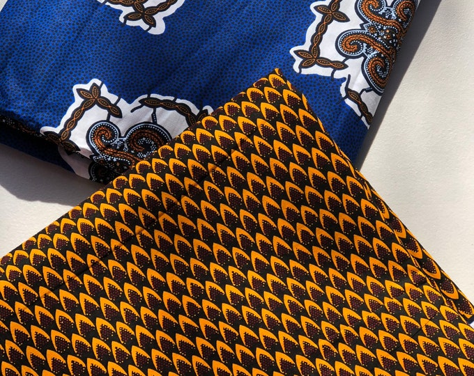MM130 Blue brown mix turtle  ethnic print Mix and Match African Ankara Fabric Print 3 yards each