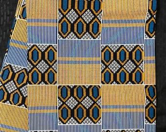 K121 african kente fabric per yard Blue Brown kente African Fabric/African Wax print/ Ankara for Dress/ African cloth dolls/ African decor