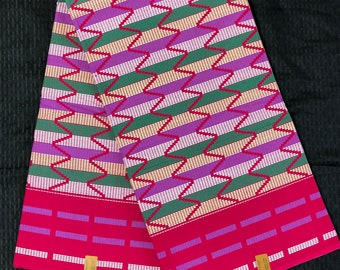 K15 Per yard pink/yellow green kente african Fabric/ kente Wax print/ kente cloth/ Material/head wrap