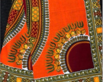 A6283 6 yard burgundy red /orange Dashiki angelina design African fabric/ african print/ African clothing/ African home decor/ ethnic print/
