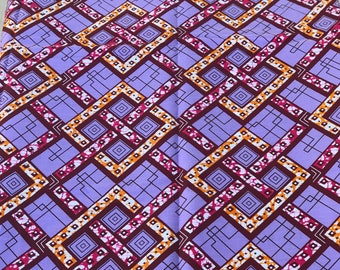 A1376 1 yard purple pink square links Ethnic Print/african fabric/ african home decor/ African Wax print/ Ankara
