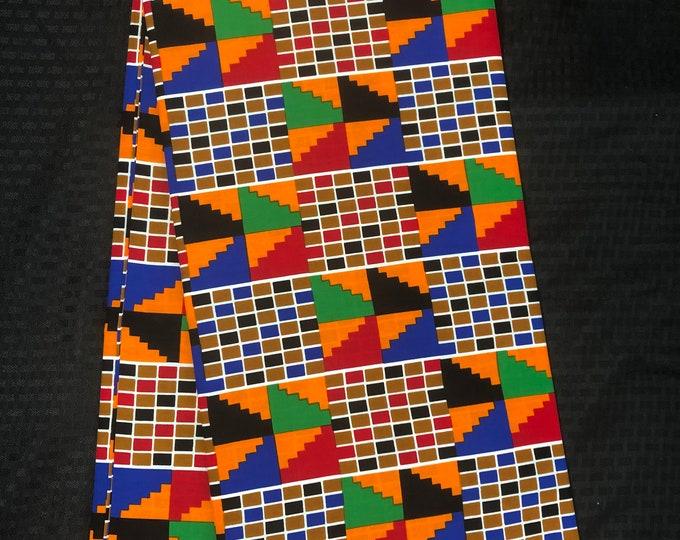 K657 6 yard yellow/ red/ Blue kente Fabric tribal ethnic print / kente Wax print/ kente cloth/ Material