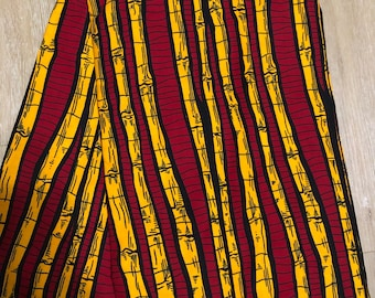 ORB65 6 yard red /orange bamboo design African fabric/ african print/ African clothing/ African home decor/ ethnic print/ African material