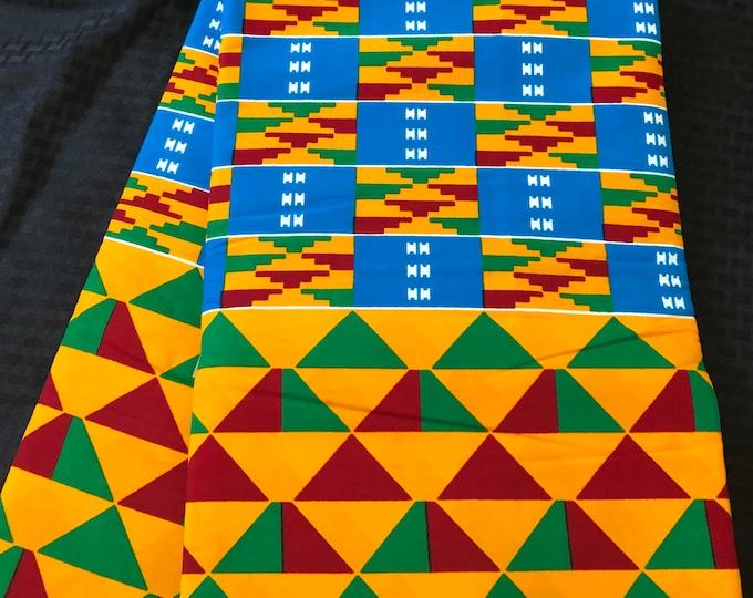 K158 per yard yellow/ red Blue green kente african Fabric/ kente Wax print/ kente cloth/ Material/head wrap/ethnic tribal print