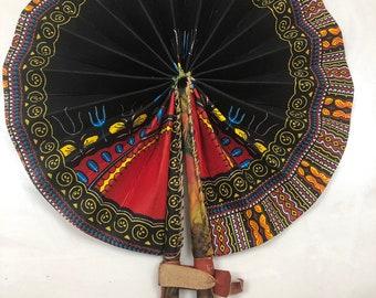 Black red dashiki Kente Ankara african wedding favor ethnic print fabric round windmill style handmade hand fan with leather trim folding