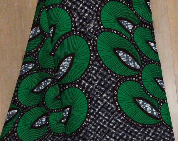 GBL6 6 yards African fabric green black feather ankara/ african Wax Print/ ethnic print/ traditional print