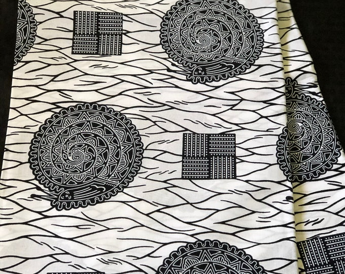 BW66 6 yard Black white snail Bible African Fabric/Print/ ankara/ ethnic cloth/ traditional cloth/ home decor pillow/ Doll cloth/ Sewing