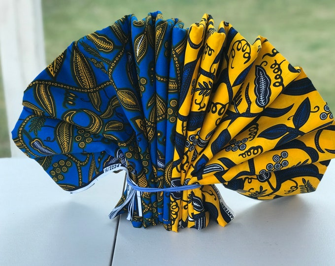 MM65 3 yds each Blue/ Yellow Ahwene pa Mix aNd Match African Wax/ African Fabric/ankara/ Material/ decor pillows/ african cloth dolls