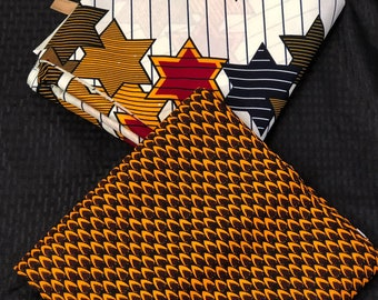 MM188 3 yards each pairing Brown/ Red/ White Mix and Match African Fabric/ Wax print/ Material