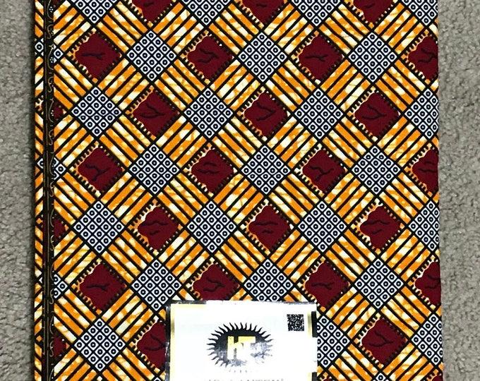 6 yard Red/ Orange/ Black/ White checkerboard Kitenge  African Fabric/ African Wax print/ Ankara/ African Material/ Cloth/ Ghana ntoma