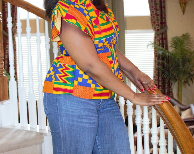 Yellow blue red cotton african ghana kente women's jacket top /blouse