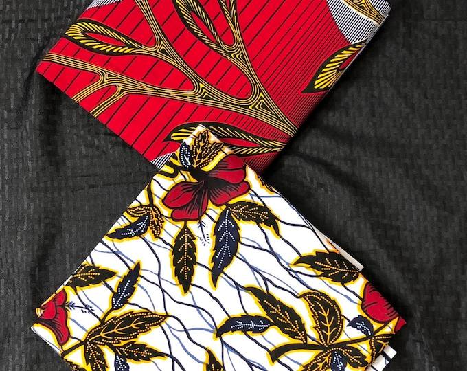 MM222 Mix Match african fabric pair Red/ Yellow African Fabric/ ankara/ african Wax Print/ ethnic print/ African Material/ Doll Cloth