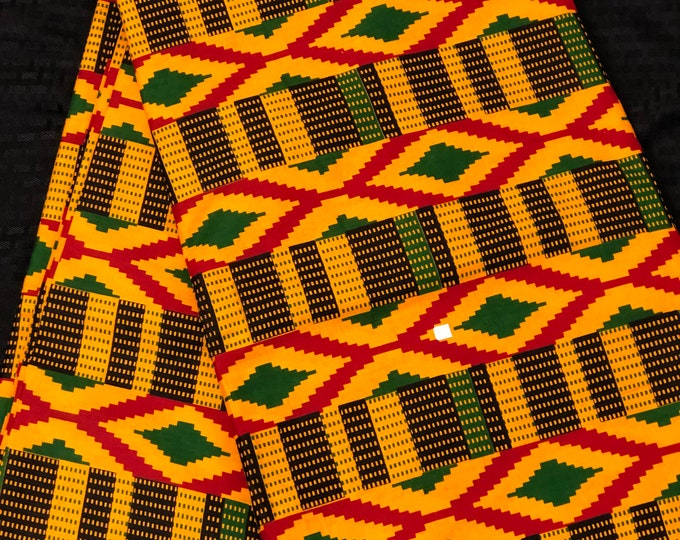 K638 6 yard yellow/ red/ green kente african Fabric/ kente Wax print/ kente cloth/ Material/head wrap