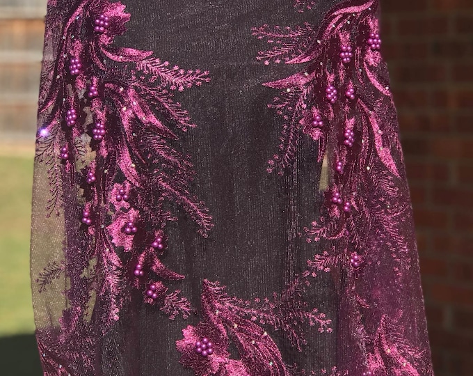 Gorgeous Purple Eggplant african Beaded Net Lace 5 yards