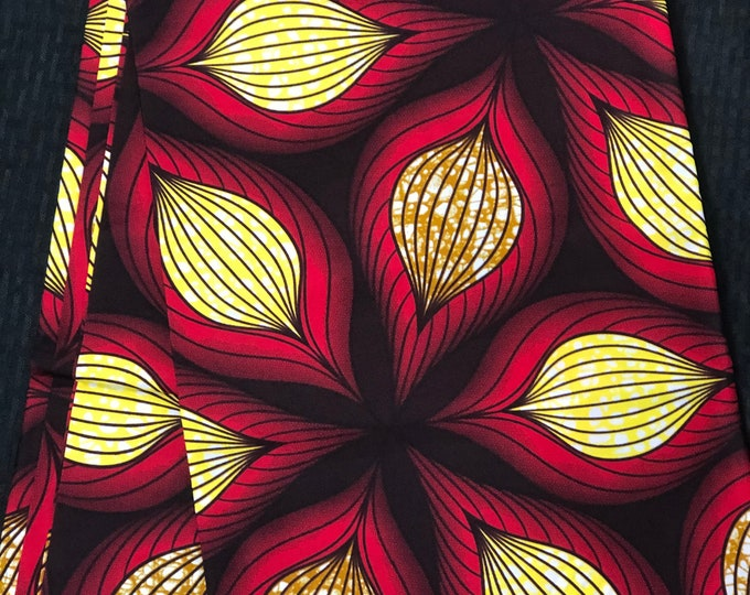 RY11 african fabric per yard White/ yellow black red floral African Wax print: Ankara for Sewing Dresses/African art/tribal print