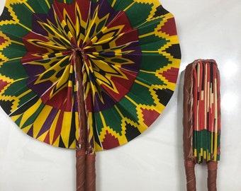 Green red yellow Kente Ankara african wedding favor ethnic print fabric round windmill style handmade hand fan with leather trim folding