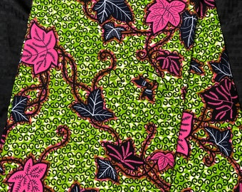 Ak13 african fabric per yard Pink/ Green leaf/vine Felicia African Wax print/ Ankara/ African Cloth/ Material/ Ghana/ Nigeria Fabric