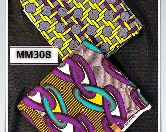 MM308 3 yards each  Yellow purple  Mix and Match Combo African Fabrics/ African Wax prints/ Ankara/ African Material/ ethnic