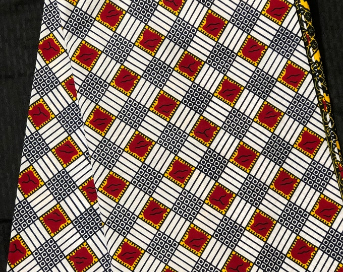 A1528 african fabric per yard White/ red/ Yellow checkerboard squares /African Wax print/ Ankara for Sew Dress/ African Art/ cloth dolls