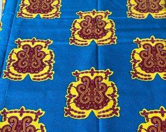 A1404 african fabric per yard turquoise Yellow floral turtle akyekyede3 Fabric/ African Wax print/ African Material/ cloth/ Sew Dress/ dolls