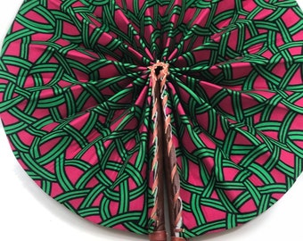 Green pink mesh Ankara african wedding favor ethnic print fabric round windmill style handmade hand fan with leather trim folding