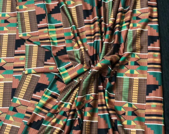 LY5 Kente 4 way Stretch Jersey African fabric per yard african lycra Print for swimsuit/ Lycra african ethnic Print/ stretch fabric/yard