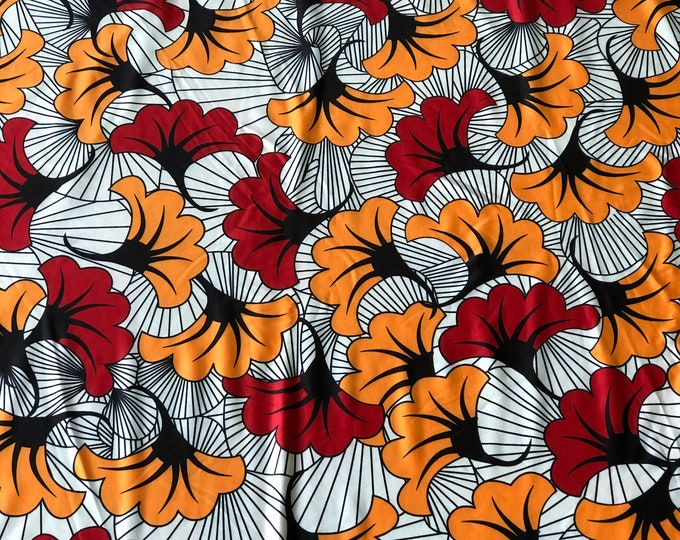 LY4 Red gold floral 4 way Stretch Jersey African per yard african lycra Print for swimsuit/ Lycra african ethnic Print/ stretch fabric/yard
