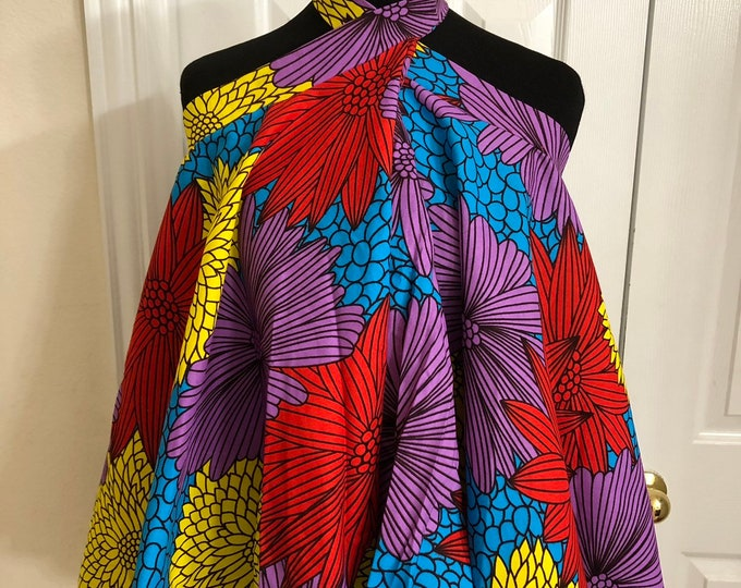 Blue red yellow floral cotton african fabric halter neck / tent / cut off top /blouse