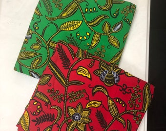 MM477 3 yards each  Green red floral Mix Match African Wax/ African Fabric/ankara/ Material/ decor pillows/ african cloth dolls