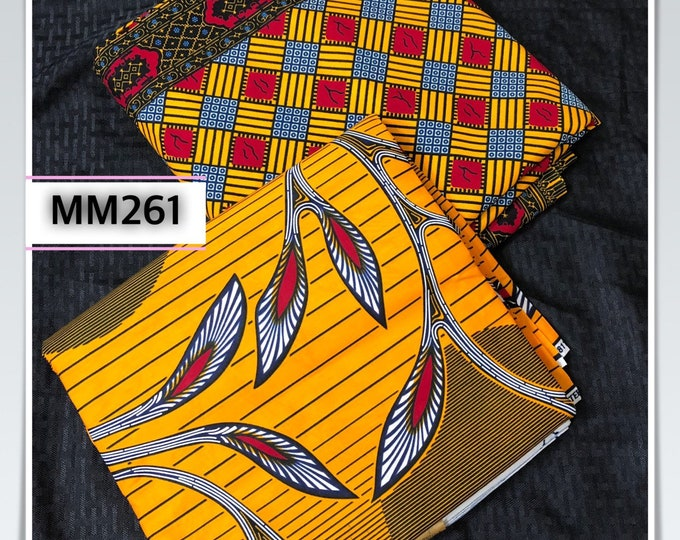 MM261 Mix Match  african fabric pair Red/ Yellow African Fabric/ ankara/ african Wax Print/ ethnic print/ African Material/ Doll Cloth