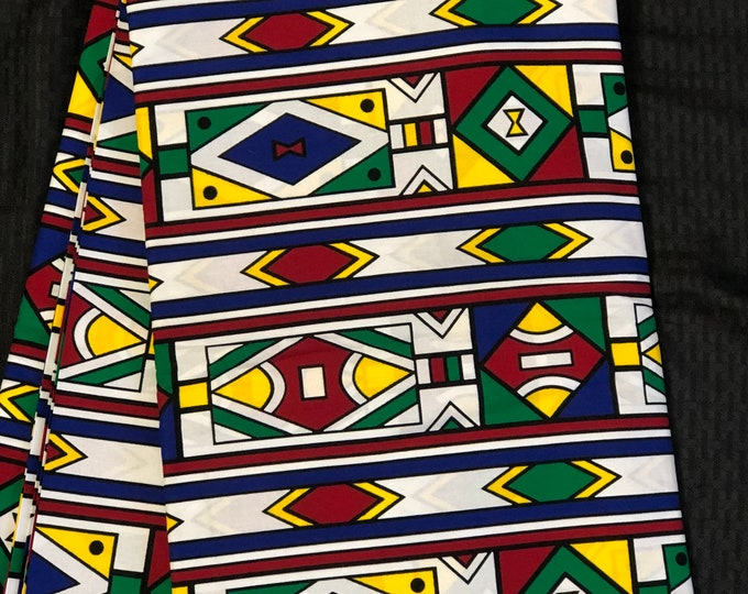 MC19 African fabric per yard multicolor green blue  red yellow white mud cloth Design / ankara/ african Material/ Cloth/ wrapper/Head tie