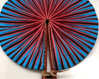 Blue pink pencil  Kente Ankara africa wedding favor ethnic print fabric round windmill style handmade hand fan with leather trim folding