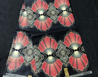 African fabric by the yard White  black red Gold shell: fan design doll cloth/ african women men clothing ethnic fabric African Fabric Print