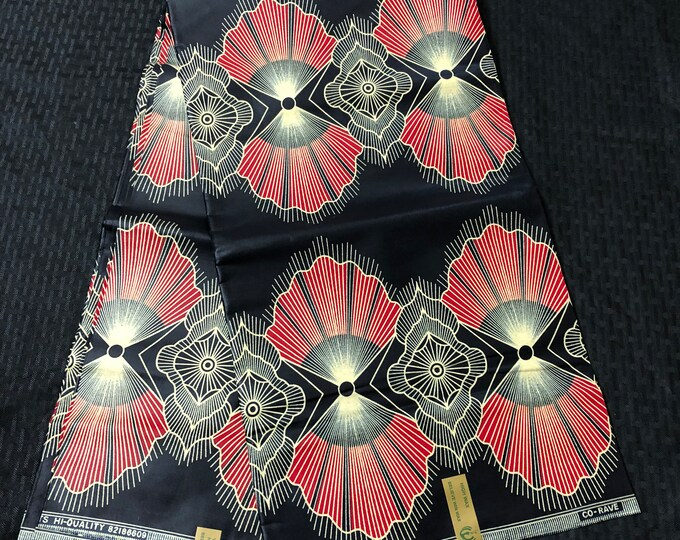 6 yards black red Gold shell: fan design doll cloth/ african women men clothing ethnic fabric African Fabric Print