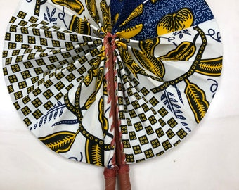 white blue yellow gold Ankara african wedding favor ethnic print fabric round windmill style handmade hand fan with leather trim folding