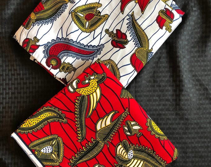 MM475 3 yds each Mix Match black white Red  pair African Fabric/ ankara/ african Wax Print/ ethnic print/ African Material/ Doll Cloth