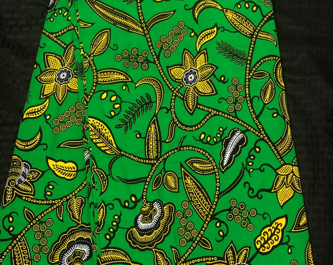 GY62 6 yards Green yellow floral leaf ahwene pa African Fabric/ African Wax print/ Ankara/ African Material/ cloth/ wrapper