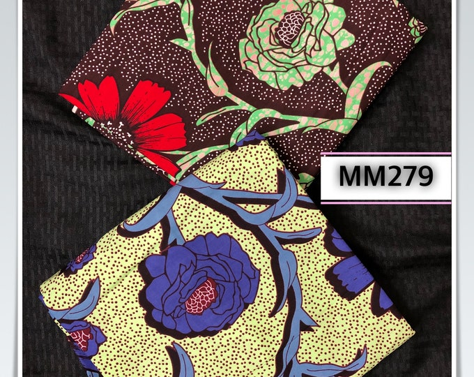 MM279 3 yards each  Green red floral Mix Match African Wax/ African Fabric/ankara/ Material/ decor pillows/ african cloth dolls