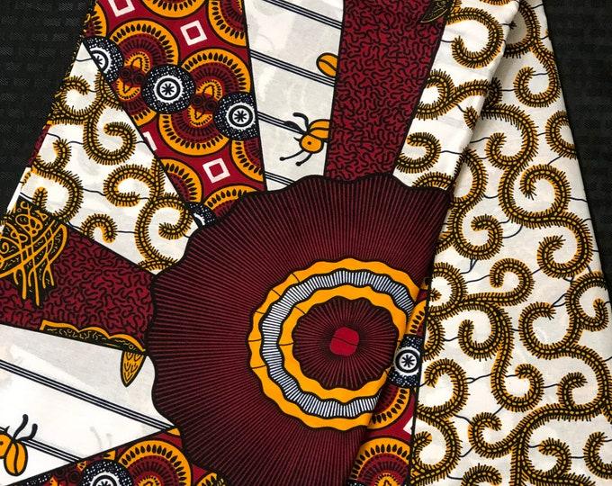 6 yards White/ burgundy red/ Yellow macaroni multi designs  African Fabric/African Wax print/ Ankara for Sew Dress/ African Art/ cloth dolls