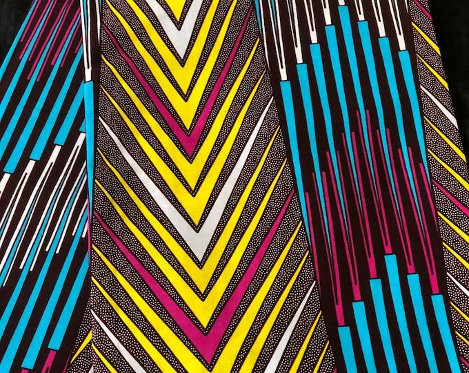 BYP1 african fabric per yard Blue Pink yellow Geometric African Wax print/ Ankara/ African Cloth/ Material/ Ghana/ Nigeria Fabric