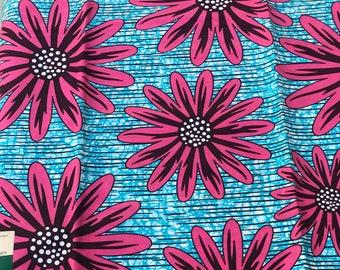 A1378 per 1 yard Fuchsia Pink/ Blue floral Design African Fabric/ African Wax print/ Ankara/ African Cloth/ Material/ Ghana/ Nigeria Fabric