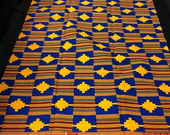 K160 african fabric kente per yard yellow/ red/ Blue kente Fabric/ kente Wax print/ kente cloth/ Material