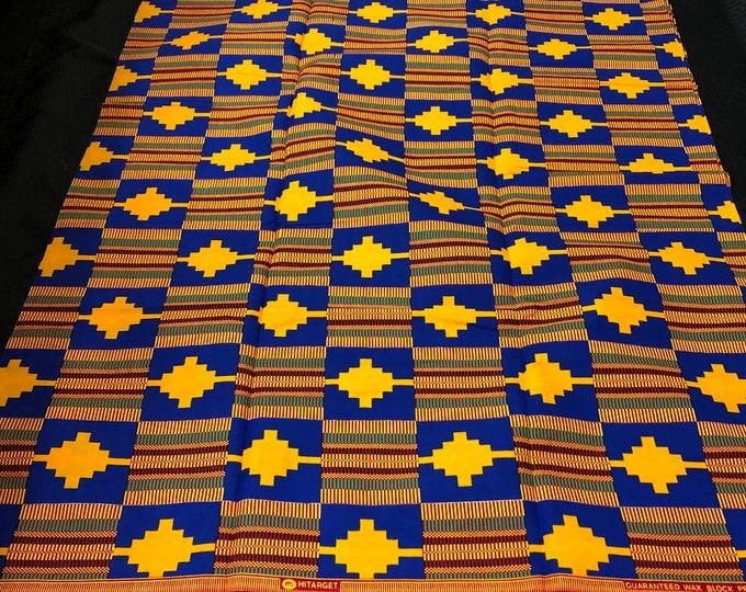 K160 african fabric kente per yard yellow/ red/ Blue kente Fabric/ kente Wax print/ kente cloth/ Material