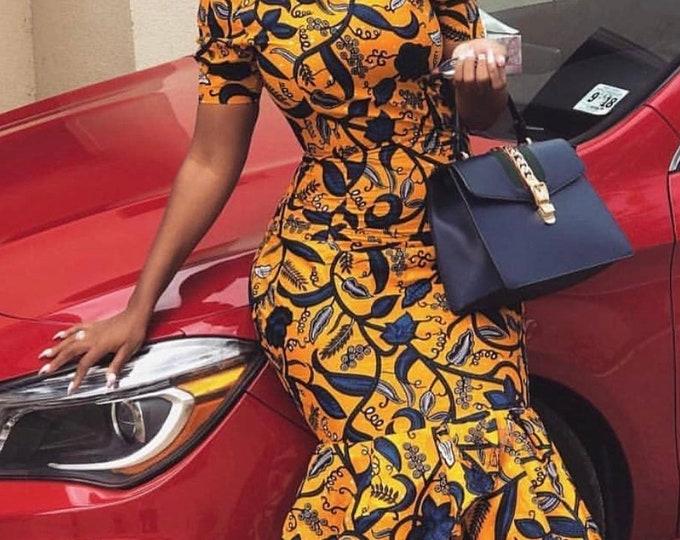 "A6223 6 yards  yellow and blue"" ahwene pa nkasa superwax Hollandais African ankara Fabric"
