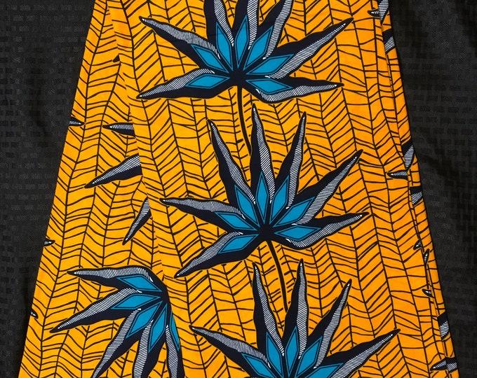 YB64 6 yard yellow blue floral petal African Fabric/ ankara/ african Wax Print/ ethnic print/ traditional print