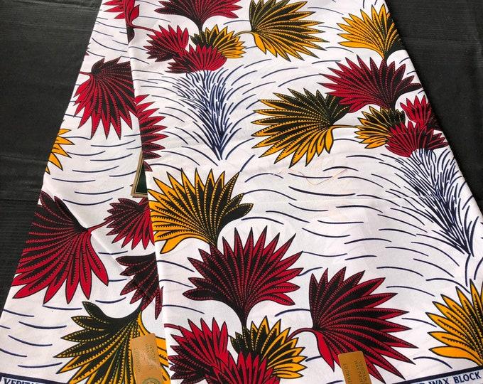 African fabric per yard White/ burgundy red/ Yellow floral leaf African Wax print/ Ankara for Sew Dress/ African Art/ cloth dolls