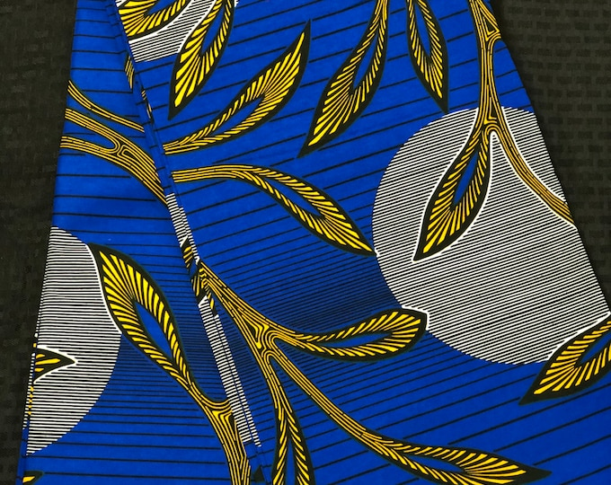 BY16 African fabric by the yard Royal Blue/yellow sun moon leaf Kitenge african Fabric/ african Wax print/ Ankara/ Material/ cloth/ wrapper