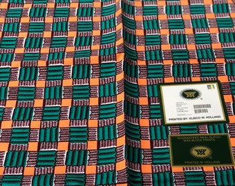 A1493 per yard Green orange checkerboard  design African Fabric/ African Wax print/ Ankara for Sewing Dress/ African hats/ art crafts/dolls