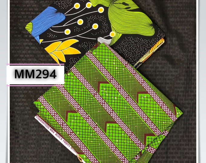 MM294 3yards each green yellow/ orange black Mix and Match African Fabric/ African Wax print/ Ankara/ wrapper/ african Material