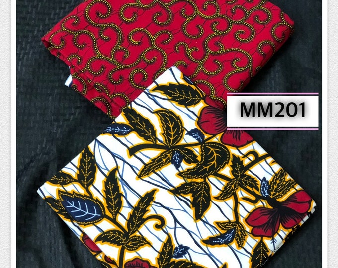 MM201 3 yards each design Mix Match african fabric pair Red/ Yellow / ankara/ african Wax Print/ ethnic print/ African Material/ Doll Cloth
